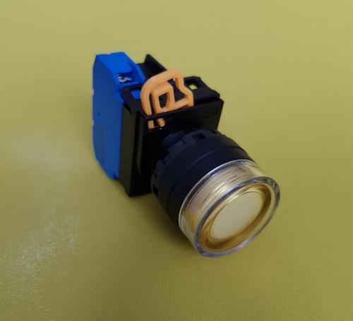 Nút nhấn phi 22- 25 có đèn, loại phẳng, nhấn nhả, màu vàng, 1NO, 220V AC/DC YW1L- MF2E10QM3Y IDEC