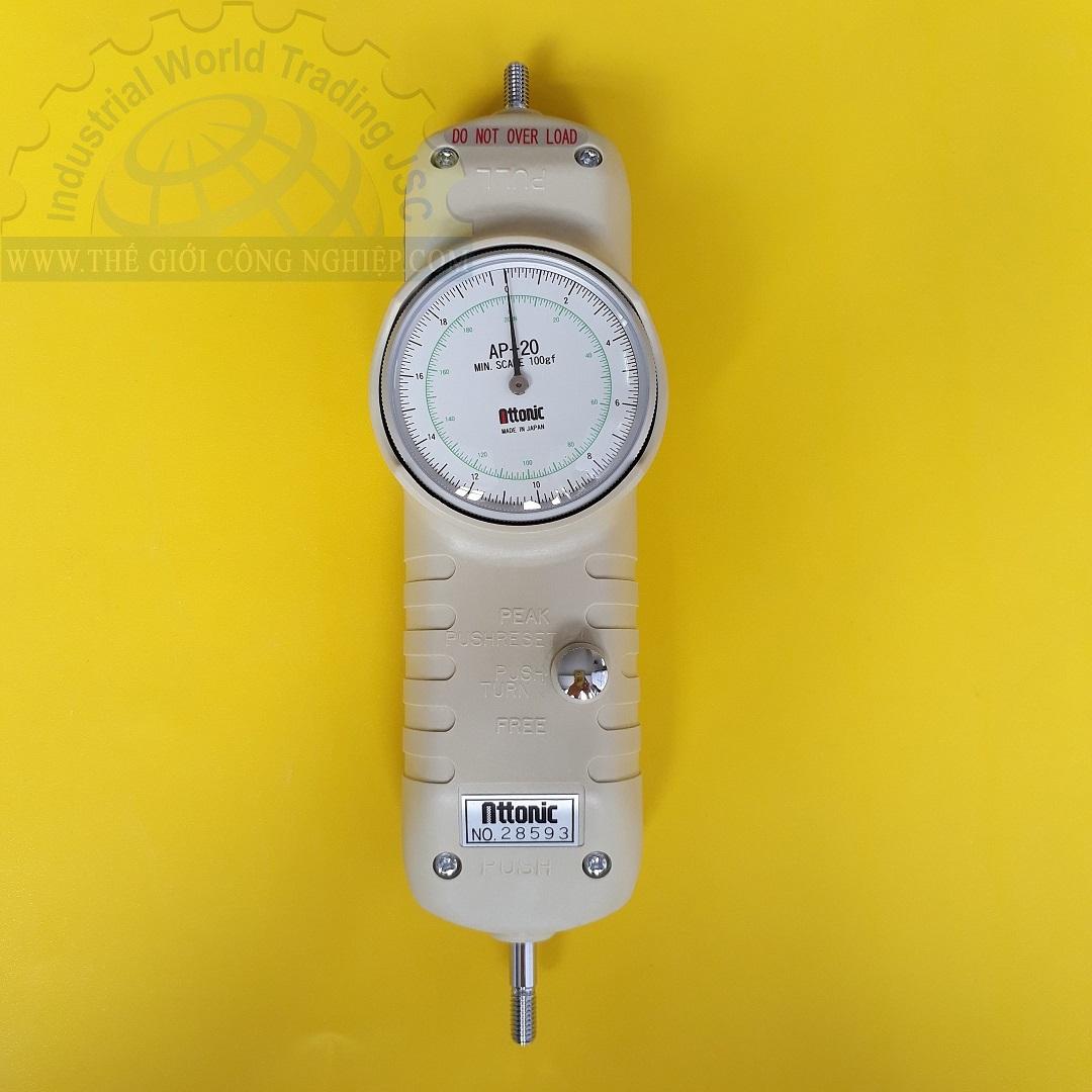 Đồng hồ đo lực kéo, đẩy 20Kg/200N mechanical force gauge AP-20 ATTONIC