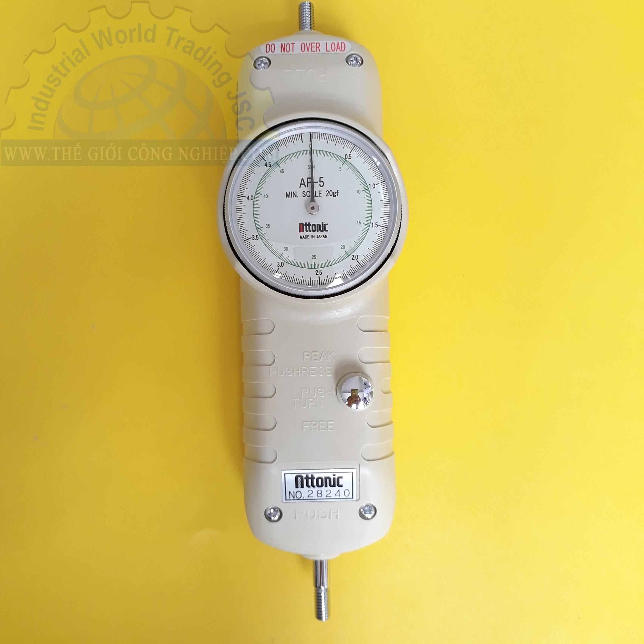 Đồng hồ đo lực kéo, đẩy 5Kg/50N AP-5 ATTONIC