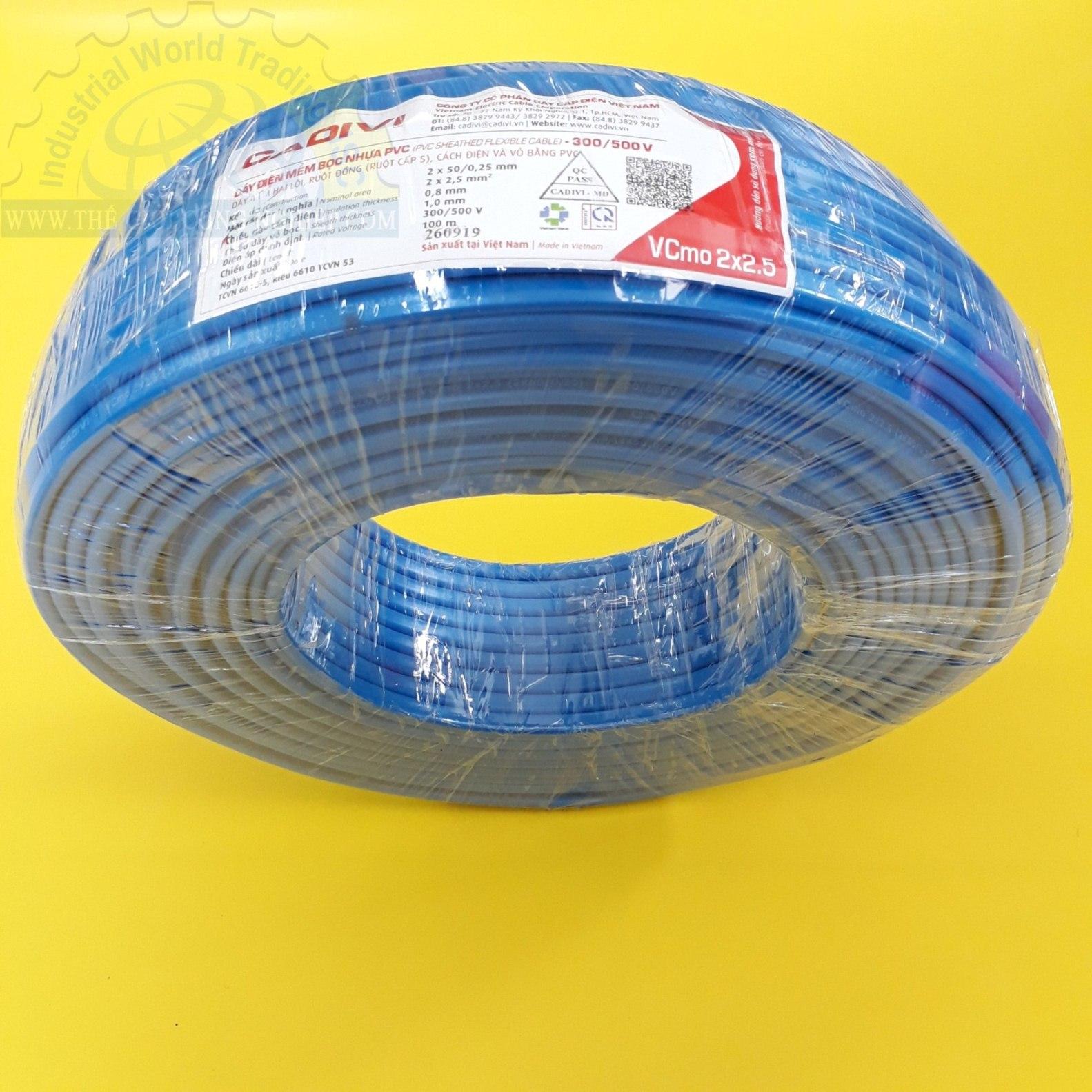 Dây đôi mềm ovan vcmo 2x2.5 (300/500v) màu xanh dương, ruột đồng cấp 5, cách điện và vỏ bằng pvc  TGCN-47292 Cadivi