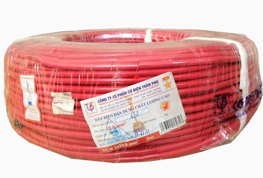 Dây điện Trần Phú đơn mềm màu đỏ  VCM 1x10 TranPhu
