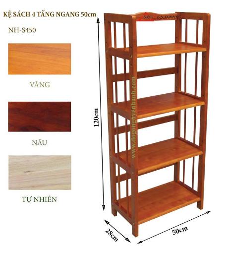 Kệ sách 4 tầng 50 màu gỗ tự nhiên  vàng cao 120 x rộng 50 x sâu 28 cm  NH-S450 nguyenhanh
