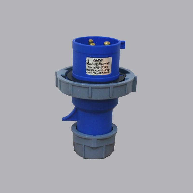 Phích cắm loại di động có kẹp giữ dây 32A-240V-2P+E-IP67  MPN-0232 MPE