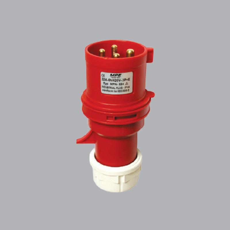 Phích cắm loại di động có kẹp giữ dây 32A-380V-415V-3P+N+E-IP44  MPN-025 MPE