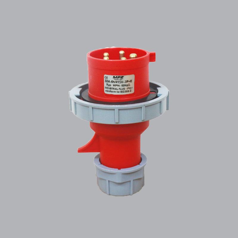 Phích cắm loại di động có kẹp giữ dây 63A-380V-415V-3P+N+E-IP67  MPN-0352 MPE