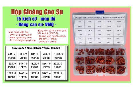 Hộp Gioăng Cao Su đỏ silicon VMQ oring 225 cái 15 kích cỡ  TGCN-50117 Vietnam