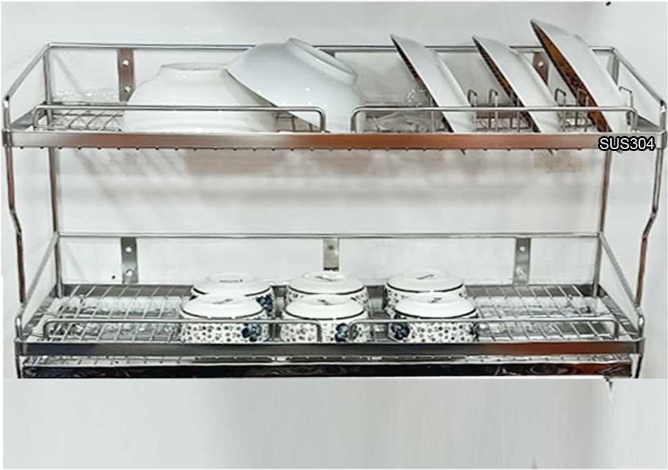 Kệ đựng chén bát 2 tầng có khay hứng nước inox 304 dài 60cm  TGCN-49861 Vietnam