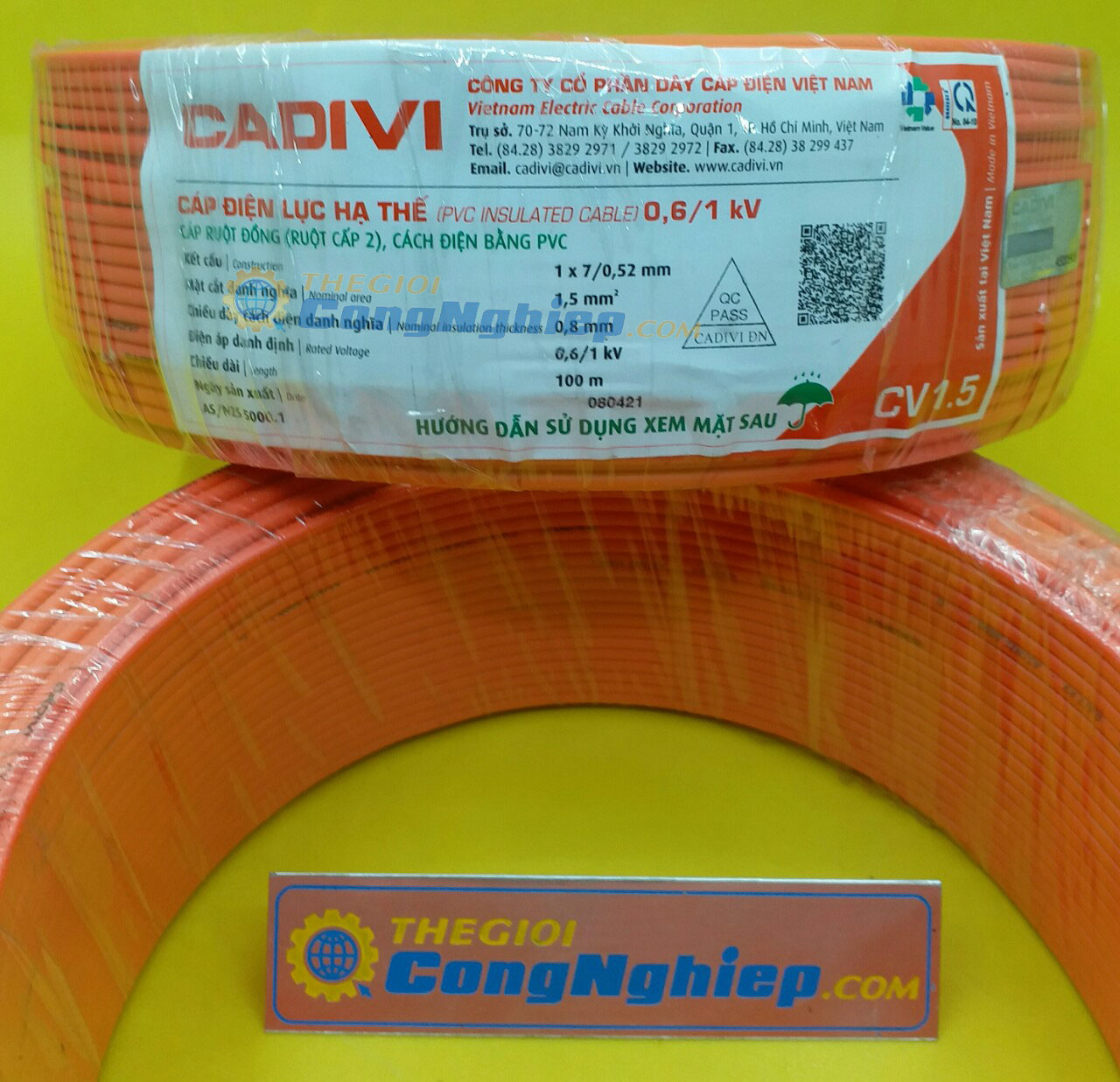 Cáp điện lực hạ thế cv 1.5 (0.6/1kv) màu đỏ, ruột đồng cấp 2, cách điện bằng pvc 56006941 TGCN-35752 Cadivi